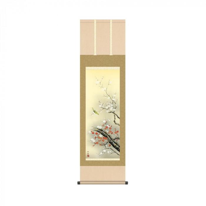 掛軸 田村竹世 「紅白梅に鶯」 KZ2MA2-049 44.5×164cm