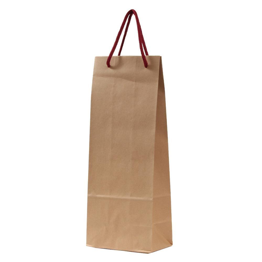 パックタケヤマ 手提袋 HTワインバッグM 茶無地 レッド 10枚×10包 XZT65201 [ラッピング不可][代引不可][同梱不可]