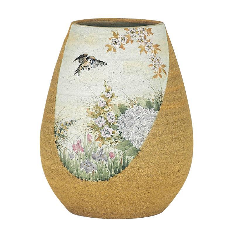 九谷焼 中村陶志人 7号花器 淡彩花鳥図 N110-05