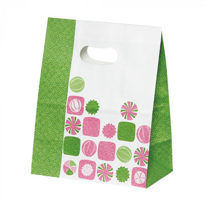 パックタケヤマ 紙袋 イーグリップ M 飴玉柄(抹茶) 50枚×10包 XZT52021 [ラッピング不可][代引不可][同梱不可]