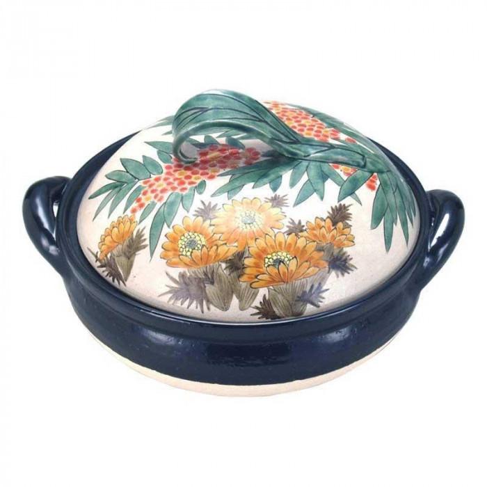 九谷焼 陶製すのこ付 良則 10号ヘルシー蒸し鍋 南天と福寿草 N153-05