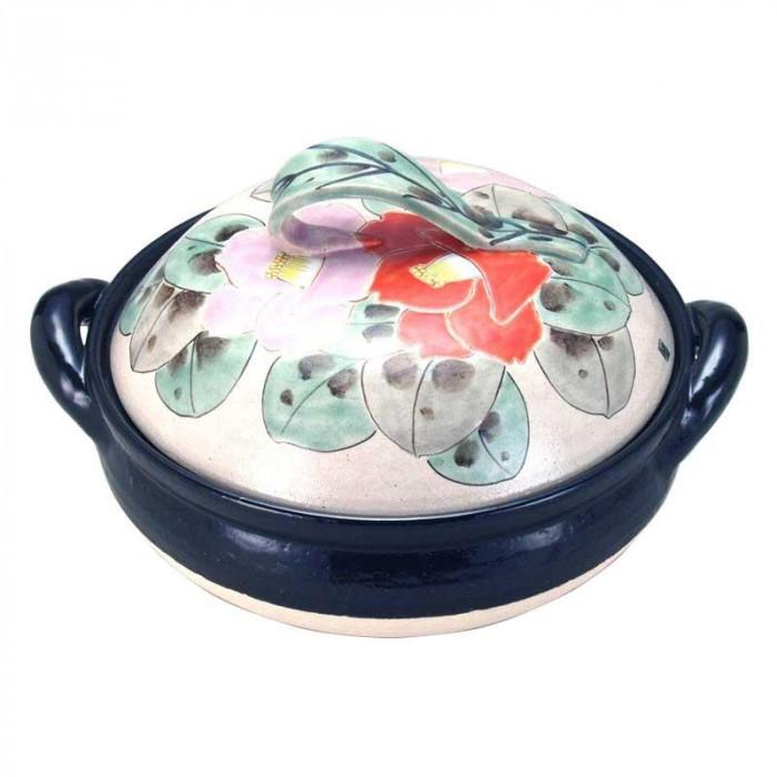九谷焼 陶製すのこ付 良則 10号ヘルシー蒸し鍋 色椿 N153-06 [ラッピング不可][代引不可][同梱不可]