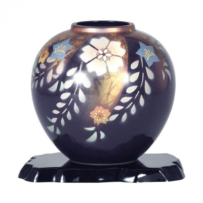 九谷焼 万作作 7号花瓶 花紋 N170-01 [ラッピング不可][代引不可][同梱不可]
