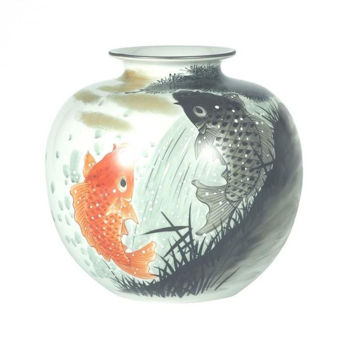 九谷焼 良則作 7号花瓶 鯉の滝上り N171-06 [ラッピング不可][代引不可][同梱不可]