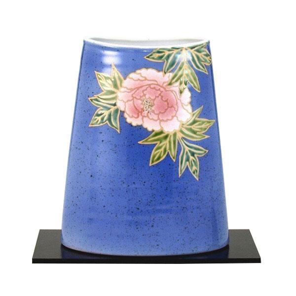 九谷焼 万作作 8号花瓶 青釉牡丹 N172-03 [ラッピング不可][代引不可][同梱不可]