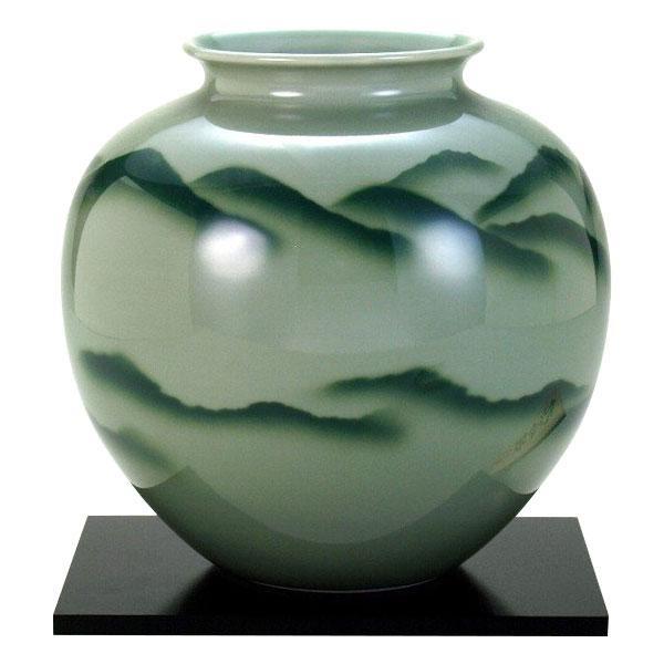 九谷焼 8号花瓶 青磁山 N174-02 [ラッピング不可][代引不可][同梱不可]