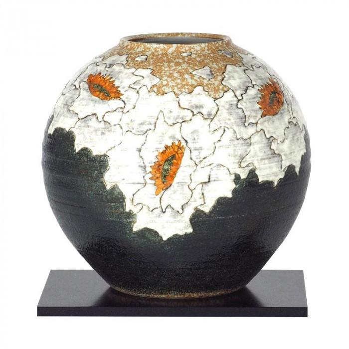 九谷焼 良則作 8号花瓶 牡丹 N175-03 [ラッピング不可][代引不可][同梱不可]