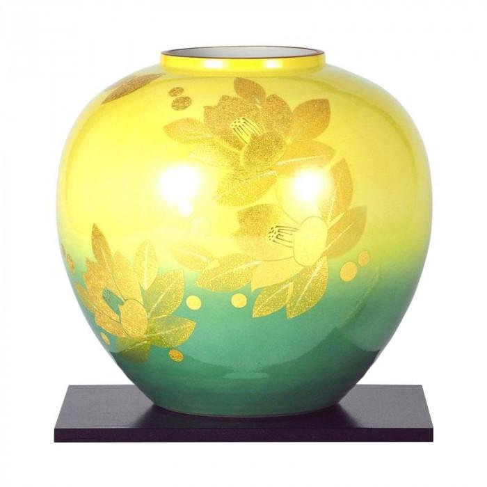 九谷焼 登陽志作 8号花瓶 金箔山茶花 N175-08