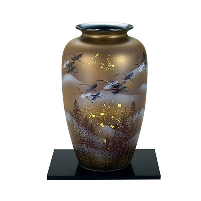 九谷焼 宗秀作 9号花瓶 銀彩金鶴 N176-08 [ラッピング不可][代引不可][同梱不可]