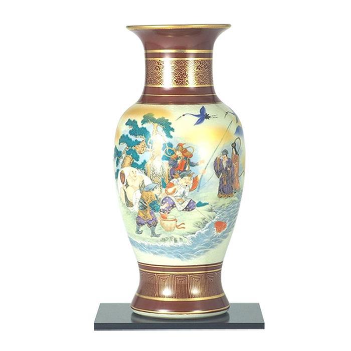 九谷焼 宗秀作 10号花瓶 銀彩金鶴 N177-02 [ラッピング不可][代引不可][同梱不可]