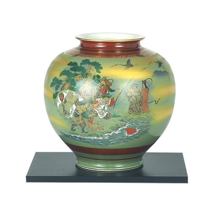 九谷焼 陶勝作 10号花瓶 七福神 N177-06