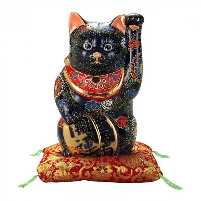 九谷焼 7号小判招猫 黒盛 N193-05 [ラッピング不可][代引不可][同梱不可]