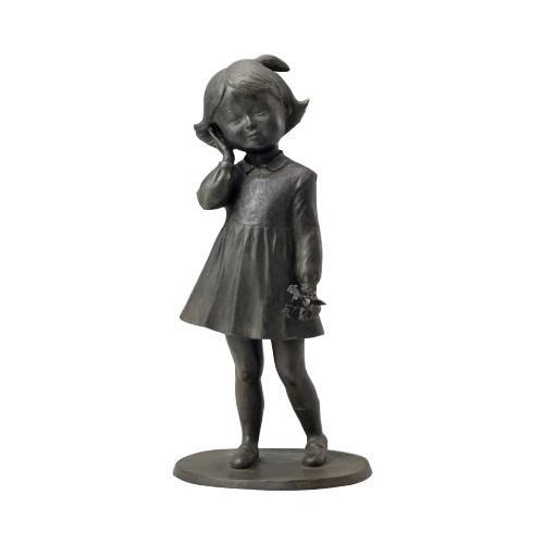 高岡銅器 銅製置物 洋風 仙里篤成作 花を持つ少女 18-02