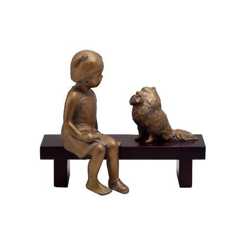 高岡銅器 銅製置物 洋風 喜多敏勝作 木製ベンチ付 いたずらポム 19-01