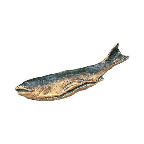 高岡銅器 銅製置物 北村西望作 文鎮 鮭 25-18
