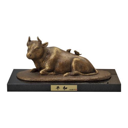 高岡銅器 銅製置物 川崎普照作 御影石付 茶金漆仕上 平和 30-04