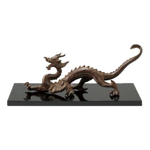 高岡銅器 銅製置物 津田永寿作 木製塗板付 蒼龍 33-03