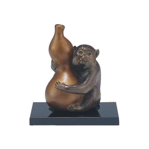 高岡銅器 銅製置物 津田永寿作 木製塗板付 寿想 33-05