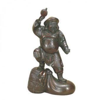 高岡銅器 銅製置物 越山栄山作 銀泉入 千両大黒 12号 39-01