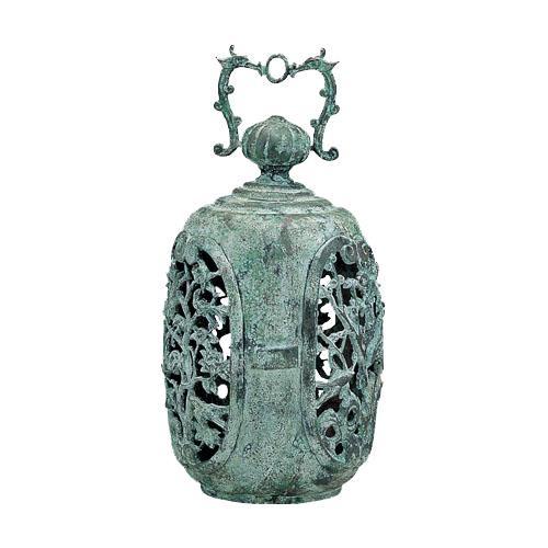 高岡銅器 銅製庭置物 クサリ付 梅灯篭 59-12