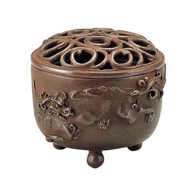 高岡銅器 香炉 名取川雅司作 獅子文 焼朱銅色 127-08