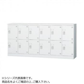 豊國工業 多人数用ロッカーロータイプ(6列2段)シリンダー錠窓付き 棚板付き GLK-S12YSW CN-85色(ホワイトグレー) [ラッピング不可][代引不可][同梱不可]