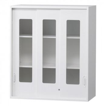 豊國工業 壁面収納庫深型3枚引違いガラス扉 ホワイト HOS-HKG3NN BN-90色(ホワイト) [ラッピング不可][代引不可][同梱不可]