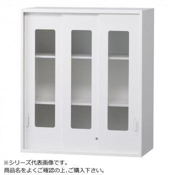 豊國工業 壁面収納庫浅型3枚引違いガラス扉 ホワイト HOS-HKG3SN BN-90色(ホワイト) [ラッピング不可][代引不可][同梱不可]