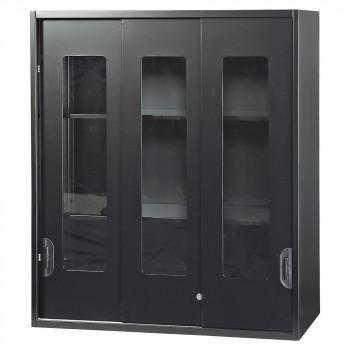 豊國工業 壁面収納庫深型3枚引違いガラス扉 ブラック HOS-HKG3NN-B CN-10色(ブラック) [ラッピング不可][代引不可][同梱不可]