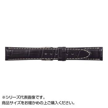 MIMOSA(ミモザ) 時計バンド クロコマット 19mm ネイビー/ホワイトステッチ (美錠:銀) WRM-NW19
