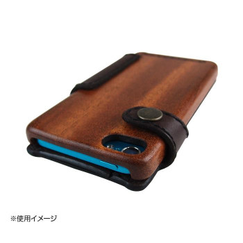 LIFE iPodtouch5/6専用ケース 手帳型 革:こげ茶/紐:黒 touch5/6_lcdbdb_book