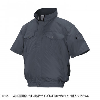 ND-111C 空調服 半袖 充黒セット 4L チャコールグレー チタン タチエリ 8119232