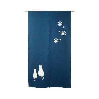 綿のれん 2匹ネコ(手描き) 青 約巾85×丈150cm [ラッピング不可][代引不可][同梱不可]