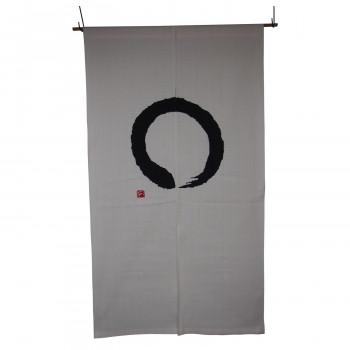 綿のれん 円 白ベース 白地に黒 約巾85×丈150cm [ラッピング不可][代引不可][同梱不可]