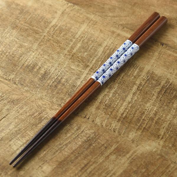 河鹿アサノ葉 23.0cm 箸(青) [キャンセル・変更・返品不可]