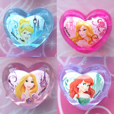 Disney Princess 4 heart plastic ring NEW
