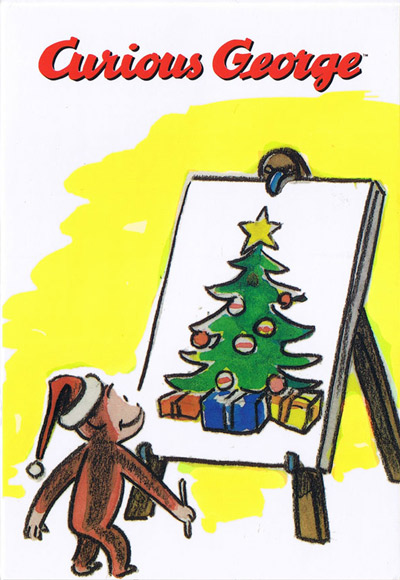 Curious George Christmas.Curious George Curious George Christmas Post Card Easels