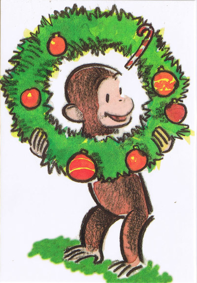 Curious George Christmas.Curious George Curious George Christmas Post Card Lease