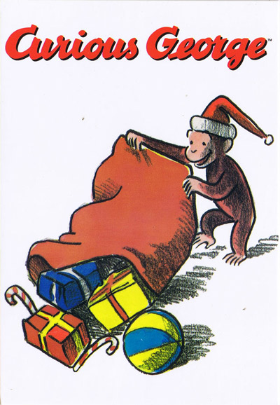Curious George Christmas.Curious George Curious George Christmas Post Card Giveaway