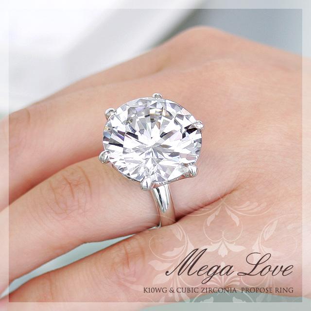 【K10WG】超特大50ct!プロポーズ リング『MEGA LOVE(メガ・ラブ)』【石刻印無料】【6~16号】【10金ホワイトゴールド】【ブライダル】【婚約指輪】【エンゲージ】【プロポーズ】【記念】【サプライズ】【プレゼント】【オーダー】【K18WG】【Pt900】【プリムローズ】