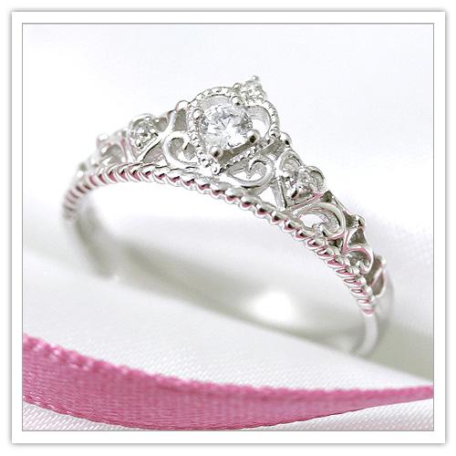 【K18WG】大人気『 愛されティアラリング 』ダイヤモンド計0.10ct【6~15号】 【18金ホワイトゴールド】 【プレゼント】 【ギフト】 【結婚指輪】 【婚約指輪】 【エンゲージ】 【マリッジリング】 【プリムローズ】KZ-1135