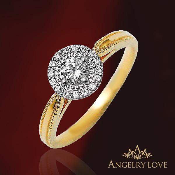 Angelry Love(アンジェリー・ラブ) 0.20ct/0.08ctダイヤモンド『Lupine ルピン』エンゲージリング【代引不可】 【婚約指輪 】 【文字入れ無料】 【リングサイズ7号~13号まで対応】 【 プリムローズ 】