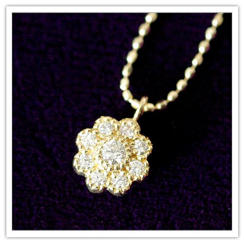 【18金】total0.15ct天然ダイヤモンド『Anemone(アネモネ)』9ストーン ペンダントネックレス【K18PG】 【K18YG】 【プレゼント】 【フラワー】 【ジュエリー】 【 プリムローズ】