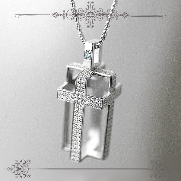 ダイヤモンド&アイスブルーダイヤモンドクロスネックレス【K18WG】 天然ダイヤモンド【送料無料】 【 プリムローズ 】