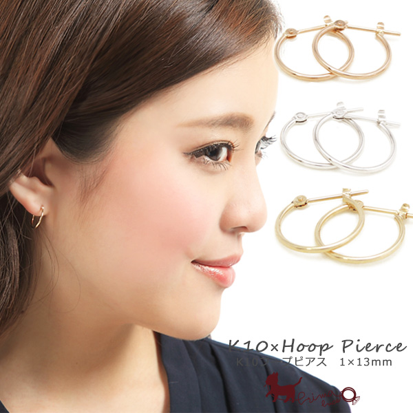 Bullion K10 Gold Simple Hoop Earrings 1 X 13 Mm Formula Of 6 Size