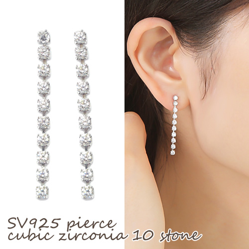Sv925 Sterling Silver Vertical Line Cz Earrings Presents Cubic Zirconia Accessories Jewelry Prima Luce