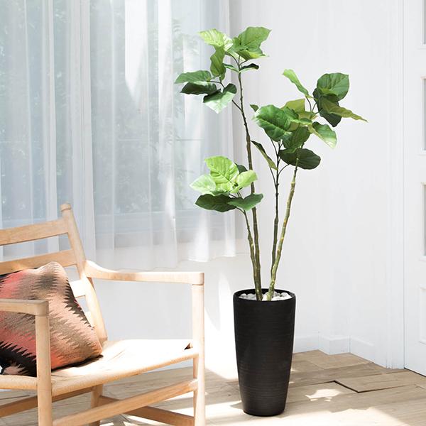 フェイクグリーン 人工観葉植物 造花 大型 ウンベラータ ウッドチップ TPプランター GREENPARK | 観葉植物 観葉 植物 人工 人工植物 インテリアグリーン インテリア フェイク グリーン アーティフィシャルグリーン おしゃれ プランター イミテーショングリーン