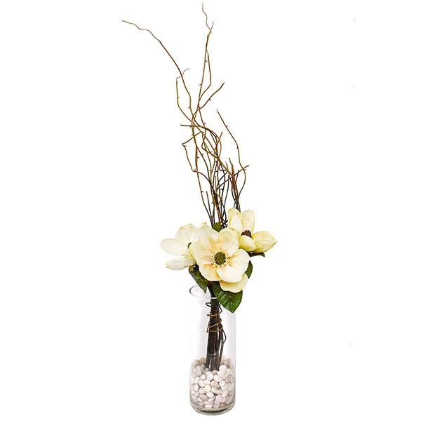 フラワーアレンジメント 造花 アーティフィシャルフラワー マグノリア ガラスベース PRIMA アートフラワー フェイク アレンジメント アレンジ ギフト フェイクフラワー インテリア プレゼント フラワー アレンジメントフラワー おしゃれ 引越し祝い 花 枯れない花