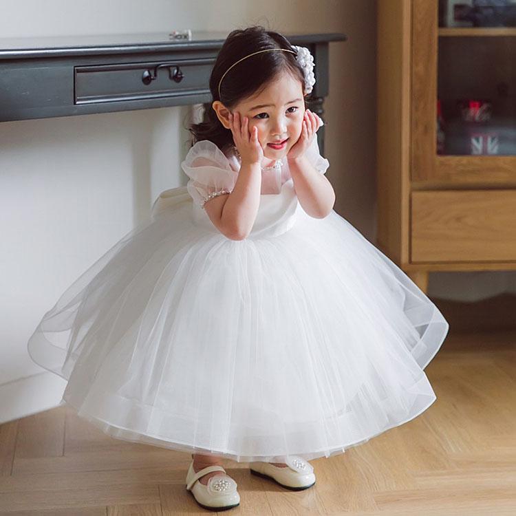 ベビードレス 結婚式 子供ドレス フラワーガール 白 新生児 セレモニードレス お宮参り 夏 女の子 ドレス