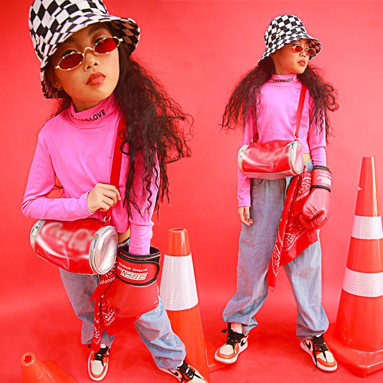 フォーマル衣装 キッズダンス衣装 デニムパンツ キッズ セットアップ 子供服 ガールズ ショート丈 トップス 長袖 へそ出し 女の子 チアガール ダンスウェア 社交ダンス 長ズボン ヒップホップ